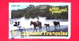 POLINESIA FRANCESE - 1992 - Usato  - Turismo - Attività Turistiche - Cavalli - 2 F - Polinesia Francese