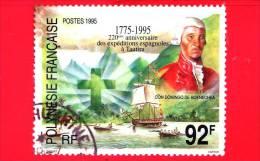 POLINESIA FRANCESE - 1995 - Usato - 220th Anniv Of Spanish Expeditions To Tautira.  Don Domingo De Boenechea - 92 F - Polinesia Francese