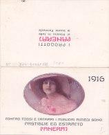 "CALENDARIETTO DOPPIO PUBBLICITARIO FARMACIA ""PASTIGLIE PANERAJ""   1916-2-0882-17409 -408 - Petit Format : 1901-20"