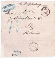 """L. Non Affr. D'ANVERS/1869 Pour La Finlande Via St Petersbourg + """"4 3/4"""" + Arrivée. - 1869-1883 Léopold II"""
