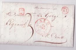 L. Càd ATH/1838 + Boîte Rurale AI En Rouge De MAFFLES Pour Mons - 1830-1849 (Belgique Indépendante)