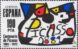 Espagne Poste N** (Yv:2237 Mi 2493) Yv 1,75 Euro Centenario De Picasso 1881-1981 - 1931-Hoy: 2ª República - ... Juan Carlos I