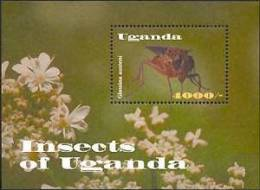 UGANDA   1780 MINT NEVER HINGED SOUVENIR SHEET OF BUTTERFLIES    STAMP SHOW 2000 ( - Butterflies