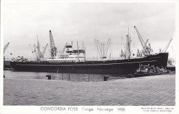 """¤¤  -  Carte Photo Du Bateau De Commerce  -  Cargo Norvégien """" CONCORDIA FOSS """" En 1958   -  ¤¤ - Commerce"""