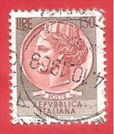 ITALIA REPUBBLICA - USATO - 1966 - Siracusana - Valori Complementari - £ 130 - S. 1018 - 1961-70: Oblitérés