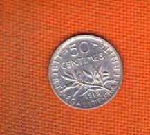 1 Piece De 50 CENTIMES SEMEUSE ARGENT 1919 - G. 50 Centimes