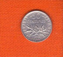 1 Piece De 50 CENTIMES SEMEUSE ARGENT 1918 - G. 50 Céntimos