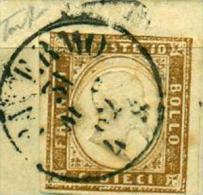 SARDEGNA 1862 10 C. BISTRO CHIARO DOPPIA STAMPA PALERMO - Sardaigne