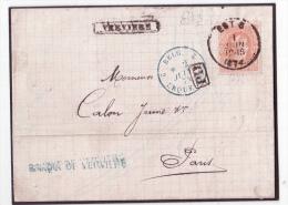 L. Affr. N°33 Càd EST 3  /1874 + Griffe Encad VERVIERS Pour Paris - 1869-1883 Léopold II
