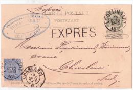 Ep5c Vert + N°60 EXPRES Càd LODELINSART/1897 Pour Charleroi - 1893-1900 Fine Barbe