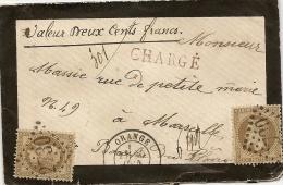 Lettre Chargé  D´Avignon Gros Chiffre 2730 Sur N° 30 X 2 Pour Marseille Du 20 Juin 1871,trés Belle Piéce - Storia Postale