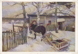 CPA HORSE WITH SLEDGE, RUSSIAN PAINTING - Malerei & Gemälde