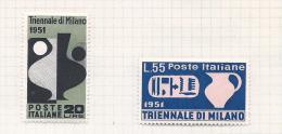 Italie Italia 1951  Yvert 605/606*  Sass 667/668* (cote Yvert Ainsi 40 Euro) - 1946-60: Nuevos