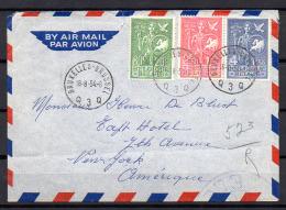 Bureau Européen De La Jeunesse  927 / 929  Lettre Bruxelles-New York 18-8-54 - Belgique