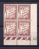 Taxe N° 40A Neuf * - Bloc De 4 Coin Daté 3.3.42 - Cote 15€ - ....-1929