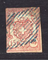 Suisse  :  Yv  23  (o)     Obl. Bleue            ,      N3 - 1843-1852 Kantonalmarken Und Bundesmarken
