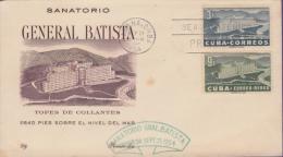 F-CU.1027 CUBA KUBA FDC 1954 SANATORIO GENERAL BATISTA EN TOPES DE COLLANTES. GREEN CANCEL - FDC