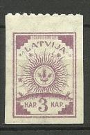 LETTLAND Latvia Latvija 1919 - Freimarke 3 Kap Einzeitig (oben) Perforiert * - Lettland
