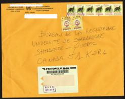 2013  Lettre  Recommandées Pour Le Canada, Antilope 5 Birr X 6, Union Postale Africaine 1 Birr X 2 - Ethiopie