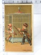 Chromo Chocolats GUERIN BOUTRON, L'oiseau S'envole, Cage (dresseur Cirque ?) Enfants - Guerin Boutron