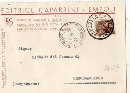 CARTOLINA COMMERCIALE- EDITRICE CAPARRINI -EMPOLI-SPEDITO A CERCEMAGGIORE-CAMPOBASSO- 28-9-1956 - 1946-.. République