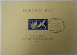 1937 Daposta Luftpost 50 P 1 Danziger Landespostwertzeichen Ausstellung Oblitété Pli Voir Scan Dos - Germany