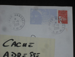 AVON ANNEXE 1 - SEINE ET MARNE - CACHET ROND MANUEL SUR PAP MARIANNE LUQUET - REPIQUAGE HERMIONE ROCHEFORT - NAVIRE - - Marcophilie (Lettres)