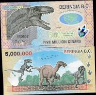 """BERINGIA 5,000,000 5 MILLION 2013 POLYMER P NEW """"RAPTOR"""" UN - Banconote"""