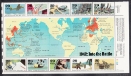 USA MNH Scott #2697 Sheet Of 10 Different 29c World War II Events Of 1942 With Centre Label Showing Map Of Axis Control - Guerre Mondiale (Seconde)