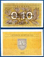 Lituanie 0.10 Talonas 1991 Avec Texte Nombre Noir Neuf UNC Plant Litu Paypal Skrill Ok - Lituania
