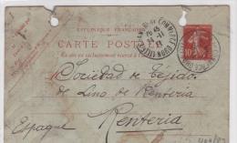 00417 Entero Postal De Francia A España- Renteria-Guipuzcoa 1912 - Enteros Postales