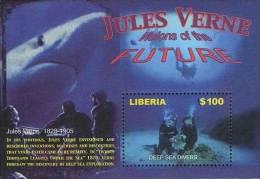 LIBERIA 2005 JULES VERNE S/S SUBMARINES, SHIPS, MARINE LIFE, SHARK, FISHES, SCUBA (DEB08) - Submarines