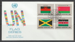 ENVELOPPE 1ER JOUR DES NATIONS UNIES N.Y. - DRAPEAUX DE : MALAWI, BIELORUSSIE, JAMAIQUE ET KENYA - Briefe