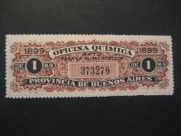 Entre-Rios Oficina Quimica Argentina Chemistry Chimie Fiscal Tax Taxe Due Revenue Poster Stamp Label Vignette Viñ - Scheikunde