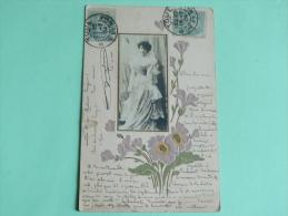 Carte Gaufrée, Style Art DECO, Photo De Femme - Femmes