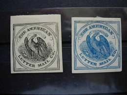 USA  2 STAMPS OF THE AMERICAN LETTER MAIL CO. - Poste Locali