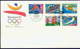 DV7-88 1992 CANADA FDC MI 1289-1293 SPORT, OLYMPICS BARCELONA 1992, SWIMMING, CYCLING, ATHLETICS, GYMNASTICS. - Zomer 1992: Barcelona