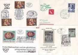 1056s: Österreich Gruber- Mohr- Silent Night Holy Night 4 Belege - Christmas