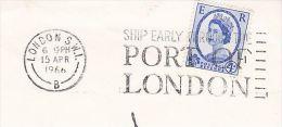 1966 GB COVER  SLOGAN Pmk SHIP THROUGH PORT OF LONDON Ships Stamps - Ships