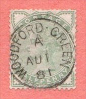 """GB SC #78 U Queen Victoria W/CDS """"WOODFORD GREEN /  AU 1 81"""" W/some Lt Backside Stns, CV $13.50 - Used Stamps"""