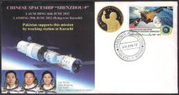 SHENZHOU-9 CHINESE SPACESHIP, Yuri Gagarin, Space, Special Cover From PAKISTAN 29-6-2012