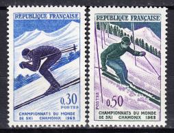 FRANCE  - 1962 - Yvert  1326/1327 ** - Championnat Du Monde De Ski à Chamonix - France