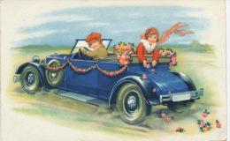 ENFANTS - LITTLE GIRL - MAEDCHEN -  Jolie Carte Fantaisie Enfants Dans Automobile Avec Fleurs - Children's Drawings