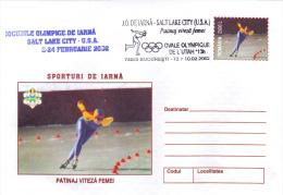 WINTER SPORTS, SKATING SPEED WOMEN, SPEED SKATING - WOMEN,SALT LAKE CITY , 2002, COVER STATIONERY, ROMANIA - Winter 2002: Salt Lake City