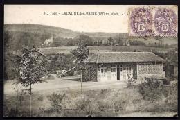 CPA ANCIENNE- FRANCE- LACAUNE-LES-BAINS (81)-  LA GARE VUE DE L´EXTERIEUR- GROS PLAN- MURS DÉCORÉS- - Autres Communes