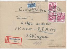 ALLEMAGNE - 1949 -  LETTRE DE RAVENSBURG , EN RECOMMANDE ,  A  DESTINATION DE TUBINGEN , PUIS BADEN-BADEN - - Wurtemberg