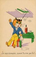 CARTE FANTAISIE RARE- CHAT - JE SUIS DESESPERE - LES CHATS / CATS / KATS - Chats