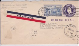 USA - 1937  - ENTIER POSTAL - ENVELOPPE -  PAR AVION - DE PASADENA ( CALIFORNIE ) A STRASBOURG ( FRANCE )