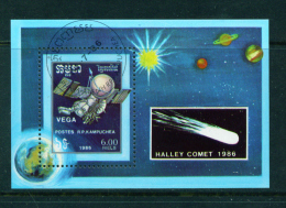 KAMPUCHEA - 1986 Halleys Comet Miniature Sheet Used As Scan - Kampuchea