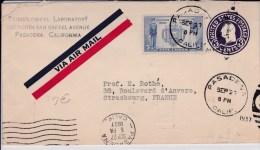 USA - 1937  - ENTIER POSTAL - ENVELOPPE -  PAR AVION - DE PASADENA ( CALIFORNIE ) A STRASBOURG ( FRANCE ) - 1921-40